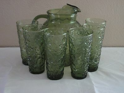 Depression Glass Pitcher and 6 Cups