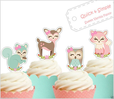 Woodland Animals EDIBLE Cupcake Toppers Baby Shower Mint Coral 1st Birthday #420