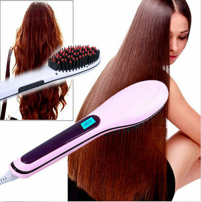 Electric Auto Hair Brush Massager Tool Hair Straightener LCD Hot Comb Iron