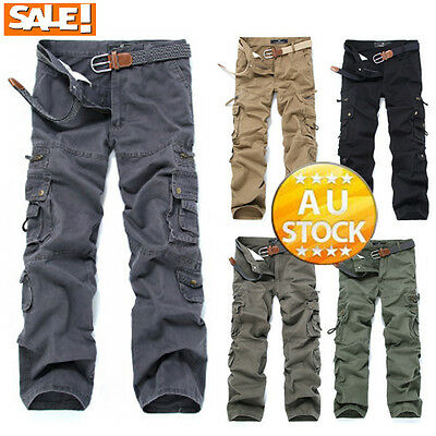 Mens Fashion Army Cargo Camo Combat Military Work Trousers Casual Pants Tujs