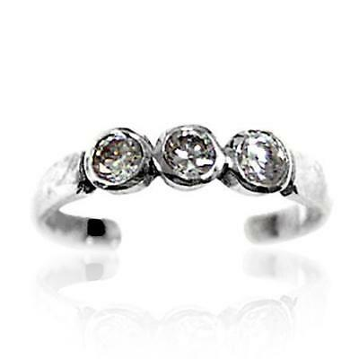 NEW Sterling Silver Toe Ring Crystal Clear Bling