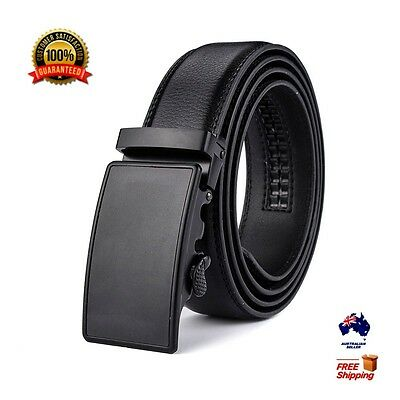 XHtang New Mens Automatic Buckle Belt Black Genuine Leather Waistband Jeans Gift