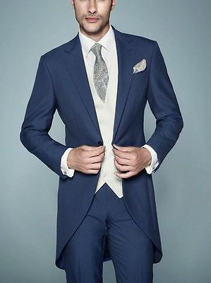 Mens Navy Blue 3 Piece Tailored Fit Tailcoat Wedding Morning Dress Suit Tails
