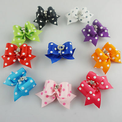 10-50pcs 3D Rhinestone Dot Pet Dog Accessories Grooming Hair bows Rubber Bands