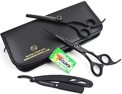 "Professional Barber Hairdressing & Thinning 6.5"" SET RAZOR/blades 4 Items"