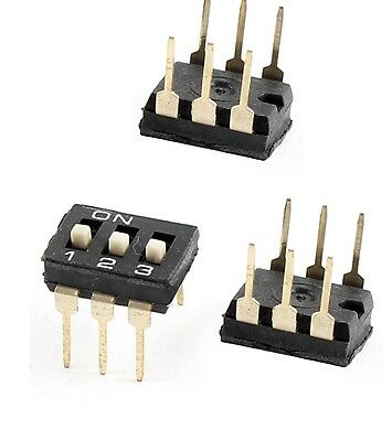 10 Pcs NEW    2.54mm Pitch 3 Position Slide Type DIP Switches