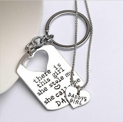 Dad Daddy Christmas Keyring Keychain & Girls Necklace Dads Fathers Day Key Ring