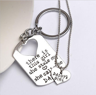 Dad Daddy Keyring Keychain Fathers Day & Girls Necklace Dads Key Ring Christmas