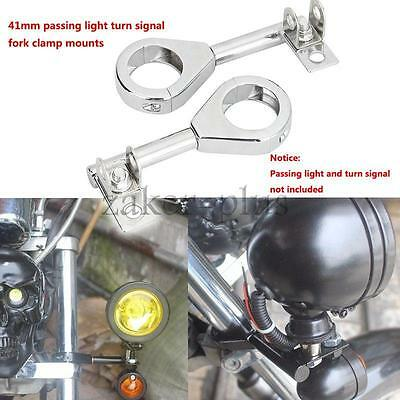 Chrome Motorcycle 41mm Fork Tube Relocation Mount Passing Fog Turn Signals Light