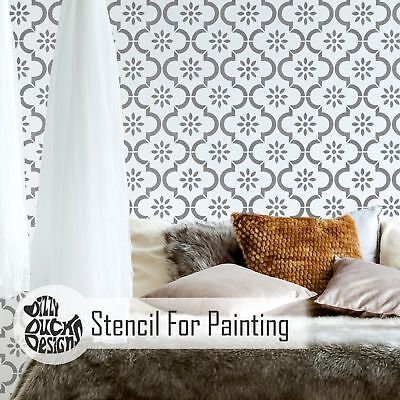 JANNAH Moroccan Mosaic Tile Stencil - Furniture Wall Floor Stencil for Painting