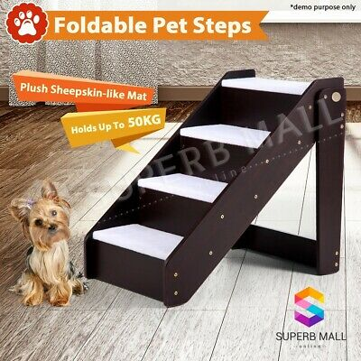 4 Steps Wooden Portable Dog Cat Pet Stairs Washable Plush Cover Mat Ramp Ladder