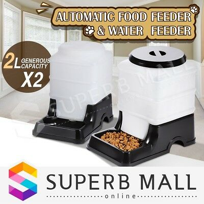 2 x Automatic Pet Feeder Waterer Dog Cat Food Water Bowl Set Self Feeding 2L BK