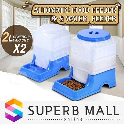 2 x Pet Feeder Waterer Set Dog Cat Automatic Self Feeding Food Water Bowl Blue