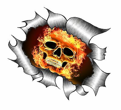 Ripped Open Torn Metal Rip with Gothic Skull /& Electric Blue Flames car sticker