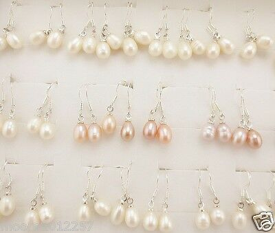 Wholesale 100 pair 7x9mm oval White, pink Baroque pearls sterling silver earring