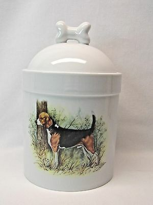 Beagle Dog Porcelain Treat Jar Fired Hunting Scene Decal on Front 8 In Tall