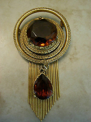 Vintage Florenza signed pin/brooch, goldtone, amber round & heart stones, 1960's