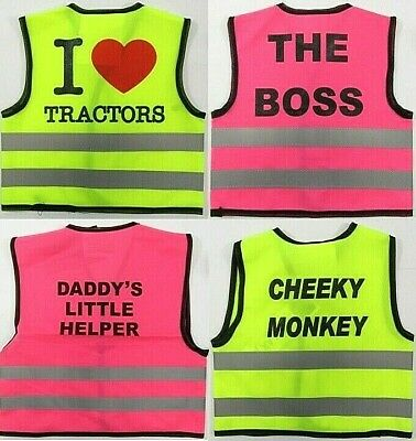 Babies Childrens Hi-vis Waistcoat Work Vest Jacket Safety Pink Yellow Reflect