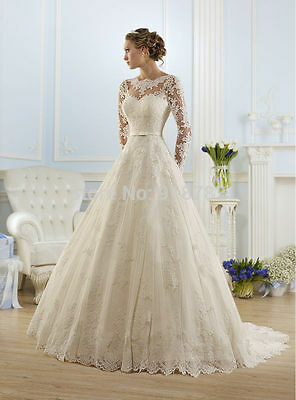 New White/ivory Lace Wedding dress Bridal Gown Custom Size 6-8-10-12-14-16+