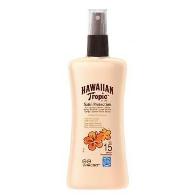 Hawaiian Tropic Satin Protection Sun Lotion Spray SPF 15 Sunscreen Tanning 200ml