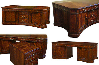IN STOCK~Leather Top Partners Desk and File Cabinet