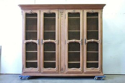 5509009 : 10' Wide 4 Door Bleached Oak French Country Bookcase Bibliotheque