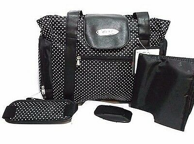 Skinly Small Dots Baby Diaper/Stroller Bag, Size: Large, Black - NEW