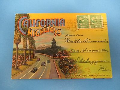 Vintage Souvenir Postcard Folder 1947 California Highways S485