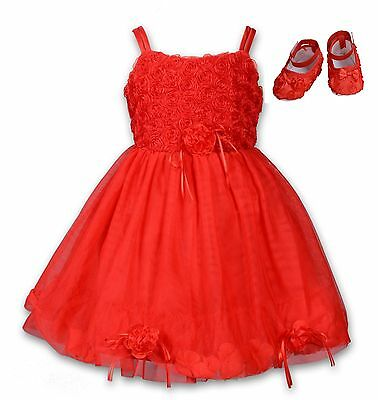 New Baby Christening Party Dress and Shoes Red Pink White Purple 6 9 12 18 Month