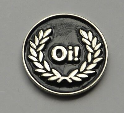 Black Oi! Skinhead Skins Quality Enamel  Pin Badge