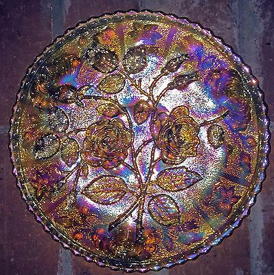 Imperial Carnival Glass Open Rose Marigold Collar Base Plate, Nice Iridescence~~