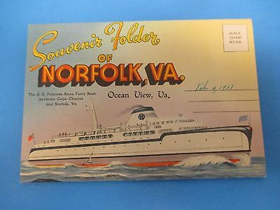 Vintage Souvenir Postcard Folder 1951 Norfolk, VA Ocean View S566