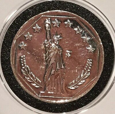 Siltex Inc Statue Of Liberty Reverse 1 Troy Oz .999 Fine Silver Round Coin Medal