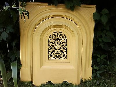 Antique  Cast Iron Fireplace Surround With Matching Arched Cover