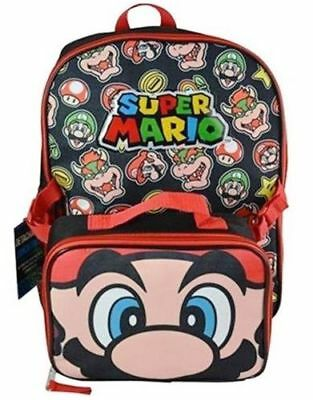 "Nintendo Super Mario Brothers  School 16"" Large Backpack with Lunch Bag"