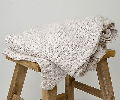 Vanilla Cream Knitted Throw - Soft Touch Throw Blanket 170cm x 130cm