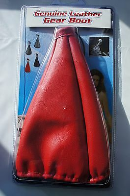 Red Genuine Leather Gear Shift Boot Dust Cover Universal Size Manual Car
