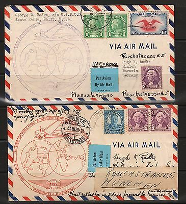 Lot of 2 USA GERMANY EUROPE AIRMAIL 11c Postage Covers 1939 PAR Avion USED