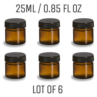 Mini Amber Glass Jar - LOT OF 6 - 0.85 oz. / 25mL - Straight Sided Amber Jar
