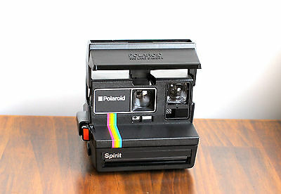 POLAROID 600 Spirit   LAND Instant Film,    Retro Rainbow stripe!     - Tested