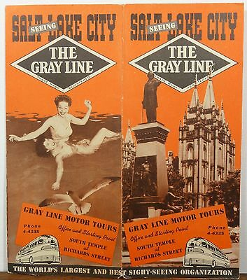 1946 Salt Lake City Utah vintage Gray Line brochure & map b