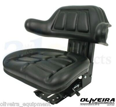 BLACK Tractor Suspension Seat, UNIVERSAL FIT, Wrap Around Back With Arms