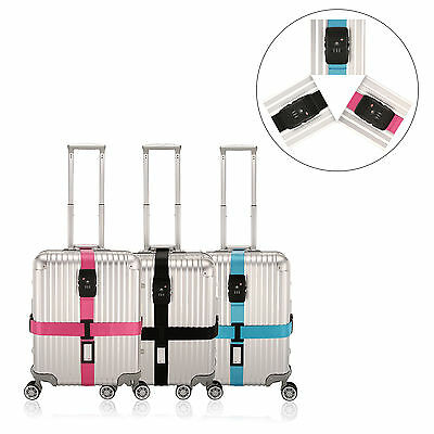 """Adjustable Heavy Duty Belt Cross Luggage Strap For Suitcase 18""""-32"""" With Lock"""