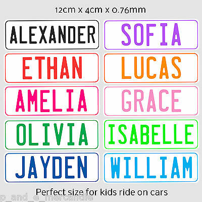 Novelty Personalised Kids Car Number Plate With Adhesive Strips Ready To Use