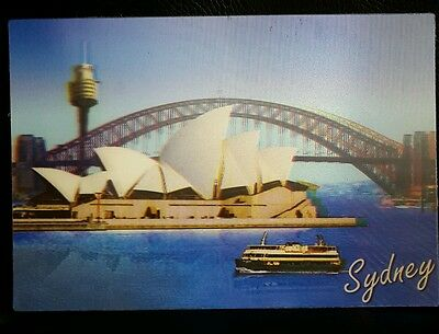 New Lenticular 3D postcard Australia Sydney Opera House Harbour Bridge And Boat
