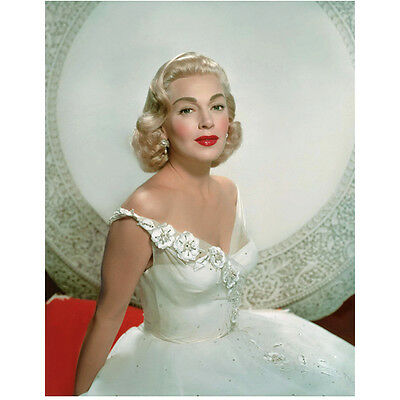 Lana Turner Seated in White with Red Lips Smiling 8 x 10 Inch Photo
