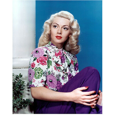 Lana Turner Next to Pillar in Purple Looking Beautiful 8 x 10 Inch Photo