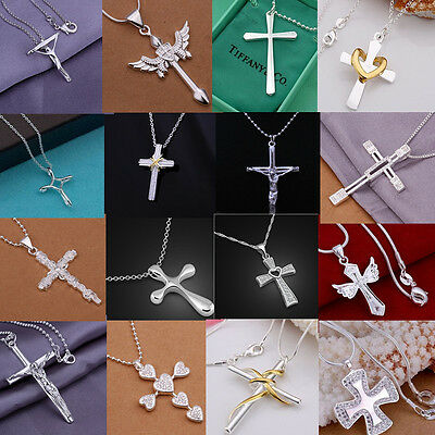 wholesale solid 925sterling silver jewellery cross pendant chain necklace + box