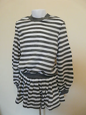 Mothercare Girls Grey White Striped Top Jumper And Skirt Set Size 6-7 7-8 Years