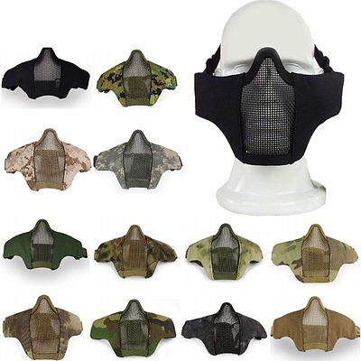 Metal Mesh Nylon Mask Half Face Cover Tactical Paintball Airsoft Protective Gear
